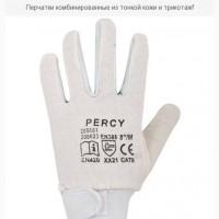 Перчатки комбинированные из тонкой кожи и трикотаж