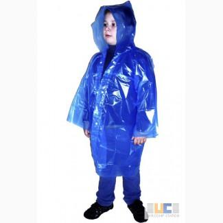 Детские полиэтиленовые дождевики плащи, пончо, оптом