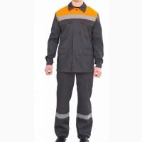 Костюм Партнер NEW (тк.Смесовая, 210) брюки, т.серый/оранжевый