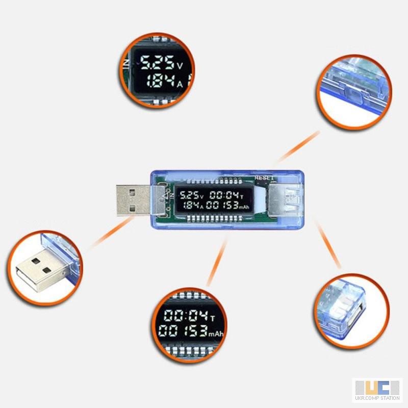 Фото 2. USB тестер KWS-V20 измеритель емкости, амперметр, вольтметр