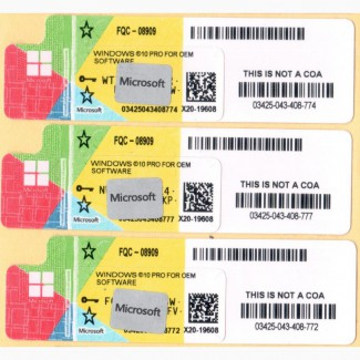 Продам Лицензионные наклейки MS Windows 10 Professional 64-bit, RUS, OEM (FQC-08909)