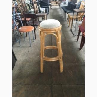 Табурет круглый б/у из бамбука с мягким сидением для кафе, бара, ресторана, клуба