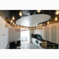 Натяжной одноуровневый потолок с подсветкой Кривой Рог